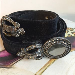 CHICO'S LEATHER BELT BLACK VELVET LIKE SIZE S/M